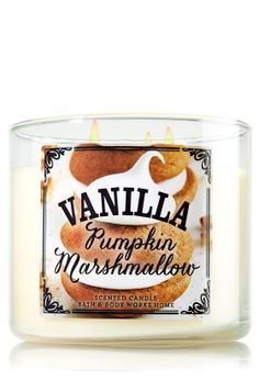 Bath & Body Works Vanilla Pumpkin Marshmallow candle oz 3 wick 2014 Limited Edition Pumpkin Cafe Fall's best cookie in a candle! The comforting sweetness of vanilla combines with a mouthwatering cloud of pumpkin marshmallow.