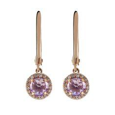 Pendientes de criolla con piedra redonda y orla de diamantes en plata/ oro rosa