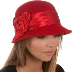 Womens Vintage Style 100% Wool Cloche Bucket Winter Hat with Satin Flower Accent #Womens #Vintage #Style #100% #Wool #Cloche #Bucket #Winter #Hat #Satin #Flower #Accent