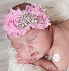 Baby Headbandbaby headbands pink baby por ThinkPinkBows en Etsy