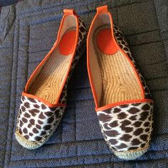NWOT leopard print espadrilles with orange trim. Cute espadrilles for summer. Very lightweight. Wonder Shoes Espadrilles