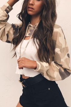 Light Camo Hoodies Cut Out Chest Front Top