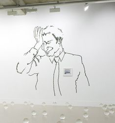 """""""Oh no not again"""", 2008 // A large wall drawing in black ink reproduced from the book 'Body Language: How to Read Other's Thoughts by Their Gestures' by Allan Pease. First published in 1981 by Camel Company Limited, representing a middle aged man frowning and holding his head in despair. Over the top of this wall drawing is hung a framed A5 commissioned illustration by Mark Beesley of Suffolk, UK, depicting a cut-away view through the wall of Ryan Ganders Studio at night. // Click on """"Visit"""" ! Ryan Gander, Middle Aged Man, Wall Drawing, Body Language, A5, The Book, Camel, Art Projects, It Works"""
