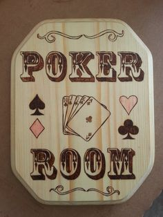 Poker Room Wood Burned Sign by Five1Designs on Etsy, $40.00