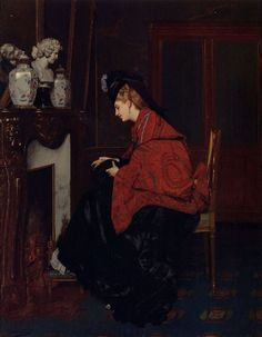 Jules Adolphe Goupil - By the Fireplace