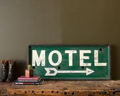 Vintage 1930's Wood Framed Motel Sign