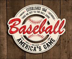 Vintage Baseball Wooden Sign