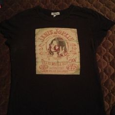 Lucky Brand Top Janis Joplin It's perfectly worn in and a very soft T-shirt material. It's a Lucky Brand top, size Large, but it fits pretty small, so would work perfect for someone that wears a small or medium. Lucky Brand Tops