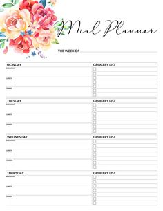 pretty floral printable meal planner for your farmhouse kitchen