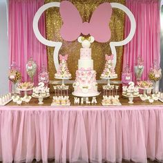 Minnie Mouse Birthday Party Dessert Table and Decor Birthday Party Desserts, Ballerina Birthday Parties, Ballerina Party, Minnie Birthday, 2nd Birthday Parties, Birthday Decorations, Girl Birthday, Cake Birthday, Happy Birthday