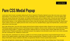 Pure CSS Modal Popup, #Code, #CSS, #CSS3, #HTML, #HTML5, #Modal, #Popup, #Resource, #Responsive, #SCSS, #Snippets, #Transition, #Web #Design, #Web #Development