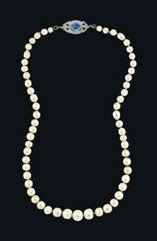 A NATURAL PEARL, SAPPHIRE AND DIAMOND NECKLACE, The single-strand composed of fifty-nine graduated natural pearls, measuring approximately 10.6 to 5.2 mm, to the diamond-set clasp centering upon a sapphire collet, Christie's Geneva November 2013