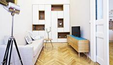 Bílá na dřevěném základě Loft Bed, Decor, Furniture, Living Room, Bed, Home, Home Decor, Room