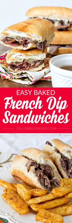 My easy Baked French Dip Sandwich Recipe is simple, full of flavor and so delicious. Plus they take less than 20 minutes to prepare with only a few ingredients! Beef Recipes, Cooking Recipes, Healthy Recipes, Easy Dinner Recipes, Dinner Ideas, Dinner Menu, Meal Ideas, Appetizer Recipes