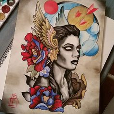 Also finished this badass valkyrie. To be tattooed on my awesome wife. #tattoos…