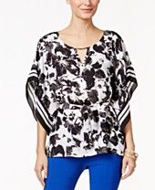 Thalia Sodi Printed Belted Capelet Top, Only at Macy's