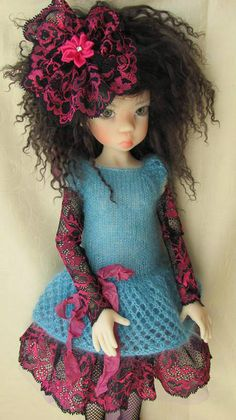 "Hand Knit Doll Outfit Set for 18"" Kaye Wiggs, MSD, BJD Miki"