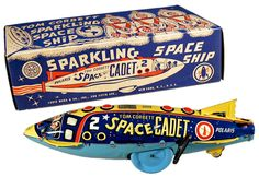 Marx, Tom Corbett Polaris Sparkling Space Ship (store stock, mint in mint box) best known example on display at American Memorabilia Museum, Baltimore, MD
