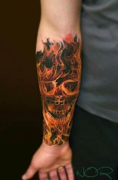 This isn't a skull on fire…. it's a skull made of FIRE. #inked #Inkedmag #tattoo #fire #skull #realism #art