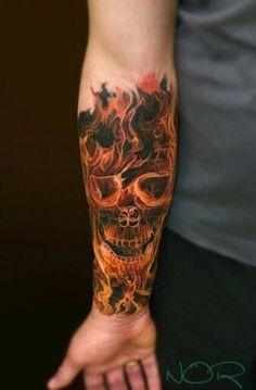 This isn't a skull on fire…. it's a skull made of FIRE. #inked #Inkedmag #tattoo #fire #skull #realism #art