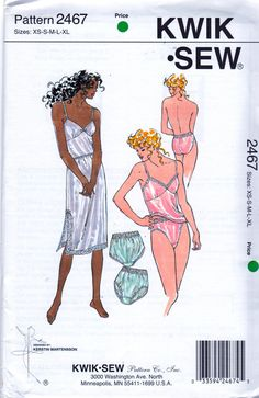 Kwik Sew 2467 1990s  Misses  Lingerie Pattern  Panties Side Slit Half Slip and Camisole sewing pattern by mbchills,