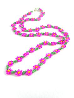 Seed Bead Flower Necklace Hot Pink Beaded by JewelleryByJora, £11.99
