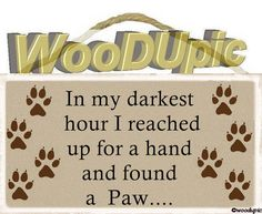 In my darkest hour I reached up for a hand and found a Paw... 5X10 Wood, Sign, For The Pet Lover In You! by WoodUpic on Etsy