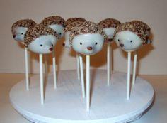 OMG I wonder if Becca could make these? Hazelnut Hedgehog Cake Pops by SugarParlour on Etsy, $38.00