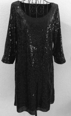 White House Black Market Sequin Shift Dress 3/4 Sleeve Fully Lined Size  M #WhiteHouseBlackMarket