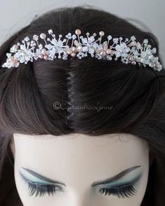 Bridal Tiara of Opal Crystal and Pink Pearls - Cassandra Lynne Wedding Tiaras, Swarovski Crystal Beads, Bridal Tiara, Bride Look, White Opal, Bridal Accessories, Stones And Crystals, Pink Pearls, Headpiece