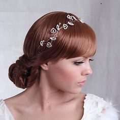 Beautiful Alloy Flowers with Crystal Wedding Bridal Headpieces – USD $ 20.99