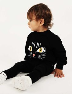 Love this new pre-SS15 Cat Face sweatshirt from super cool kids brand- wish they made adult sizes #streetwear #kids