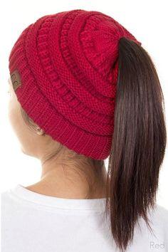 857f1aa8740 Women s Knit Messy Bun Beanie   Pony Tail Hat   6 Colors