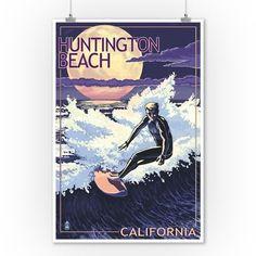 Huntington Beach, California - Night Surfer - Lantern Press Artwork (9x12 Art Print, Wall Decor Travel Poster), Multi