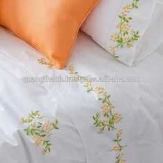 hand embroidered cotton bedding set ,bed linen,bed sheet