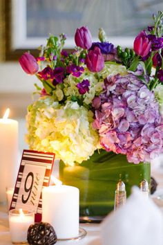 Low centerpiece w/leaf wrap