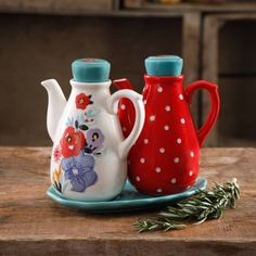 """Free 2-day shipping on qualified orders over $35. Buy The Pioneer Woman Flea Market 5.75"""" Oil/Vinegar w/Tray Set at Walmart.com"""