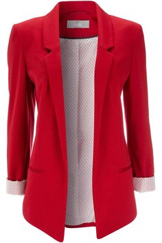 Red blazer. Cuter with rolled up sleeves. Great with jeans and dress pants. OMG! Need to get this.