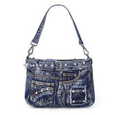 Fashion Blue Genuine Denim Jean Cloth Handbag