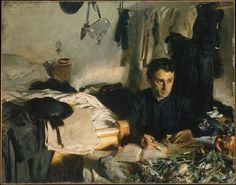 """John Singer Sargent - Padre Sebastiano Sargent's sister met the """"botanizing priest"""" while on holiday in the Italian Alps. In the painting, Sargent shows the priest in his cluttered room, making notes about the flowers that cover the table. The Metropolitan purchased this painting directly from the artist in 1910, """"It represents a noteworthy departure from Sargent's formal commissioned portraits."""""""
