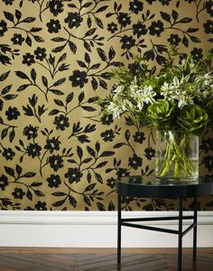 Sketchbook Floral (Gold) wallpaper as it looks on the wall (hyggeandwest)