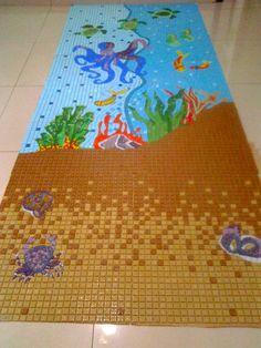 Painel Marinho - Mosaico em pastilhas de vidro 2,20m x 1,20m
