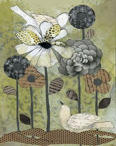 Flower Painting , Watercolor Painting , Mixed Media Collage Reproduction… - Google-søgning