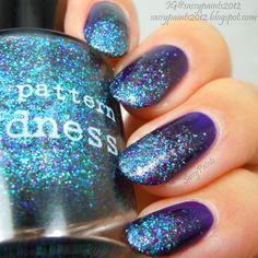 Sassy Paints: Nail Pattern Boldness Glitter Gradient with KKCenterHK Purple Laser Studs