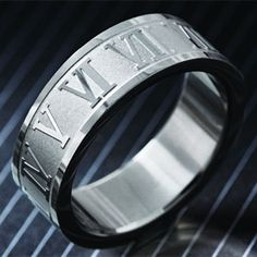 Roman Numeral Men's Stauer Steel Ring