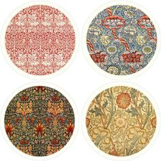 "William Morris Textiles Absorbent Coasters by CoasterStone. $17.99. Each set in a printed box. Absorbs sweating or spilled drinks without making a mess. Absorbent 4.25"" coasters. Make a great gift. These lovely coasters are made of an absorbent stone, which can absorb liquid from sweaty glasses, or even small spills! Coasters are corked on the bottom, measure 4.25"" and are brand new, in box, ready for gift - giving. Artist: William Morris"
