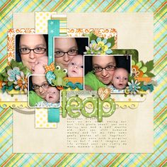 You Make My Heart Leap - Scrapbook.com CREDITS  You Make My Heart Leap by Bella Gypsy (GP).  Template Set #81 by Cindy Schneider (SSD).  Punchy Edges by Julie Billingsley (SSD).  Foliage from Calliope by Bella Gypsy (GP).  Font: DJB Gimme Space.
