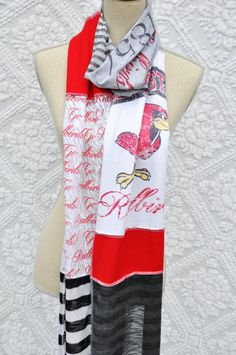 ILLINOIS STATE UNIVERSITY...ISU...GO REDBIRDS!!!    This fabulous ISU themed, red, white and grey scarf is composed of a variation of printed