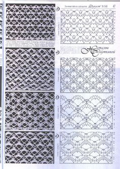 Duplet 146 ~~ Page 47 ~~ Lace ground stitches: Filet Crochet, Crochet Stitches Chart, Crochet Motifs, Crochet Diagram, Irish Crochet, Knitting Stitches, Lace Patterns, Stitch Patterns, Crochet Patterns