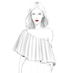 alextangweihao: Off shoulder shortbob Beauty Illustration, Fashion Illustration Sketches, Fashion Design Sketches, Sketch Fashion, Fashion Line, Fashion Art, Girl Fashion, Fashion Drawings, Fashion Sketchbook